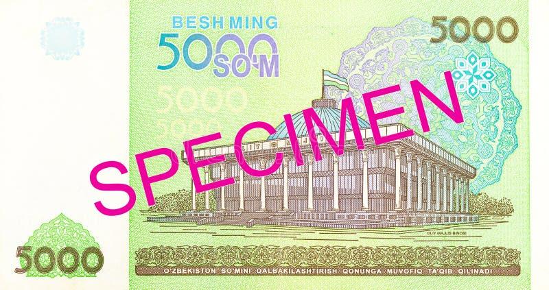 Του Ουζμπεκιστάν αντίστροφο δείγμα τραπεζογραμματίων SOM 5000 στοκ φωτογραφία