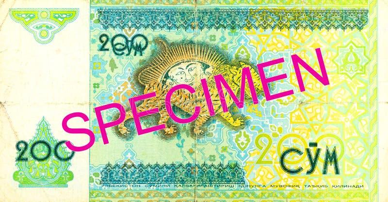 Του Ουζμπεκιστάν εμπρόσθιο δείγμα τραπεζογραμματίων SOM 200 στοκ εικόνες