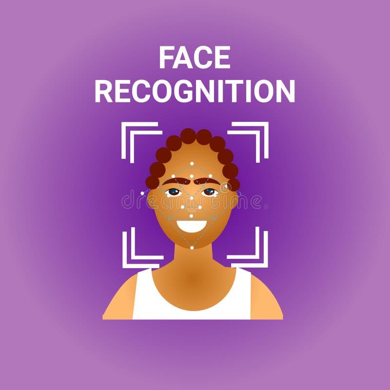 Του προσώπου ανίχνευση βιομετρικής αναγνώρισης του θηλυκού εικονιδίου προσώπου αφροαμερικάνων διανυσματική απεικόνιση
