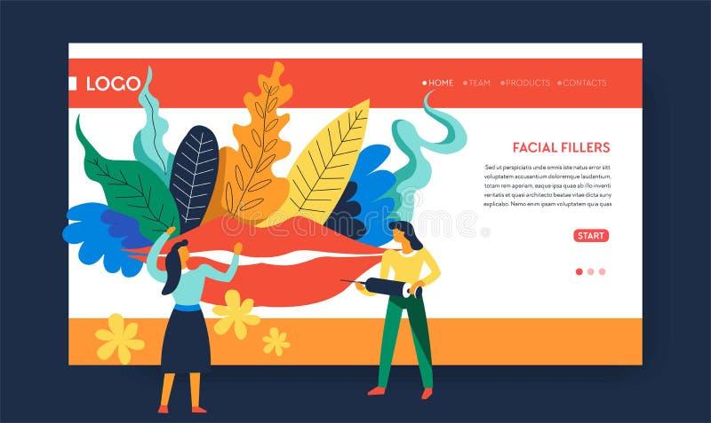 Του προσώπου διαδικασία ομορφιάς προτύπων ιστοσελίδας υλικών πληρώσεως ελεύθερη απεικόνιση δικαιώματος