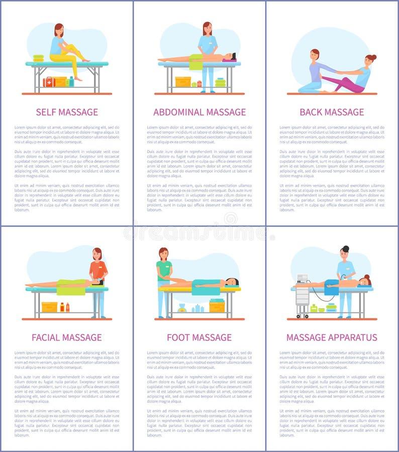Του προσώπου και μόνες αφίσες προσοχής μασάζ καθορισμένες διανυσματικές απεικόνιση αποθεμάτων