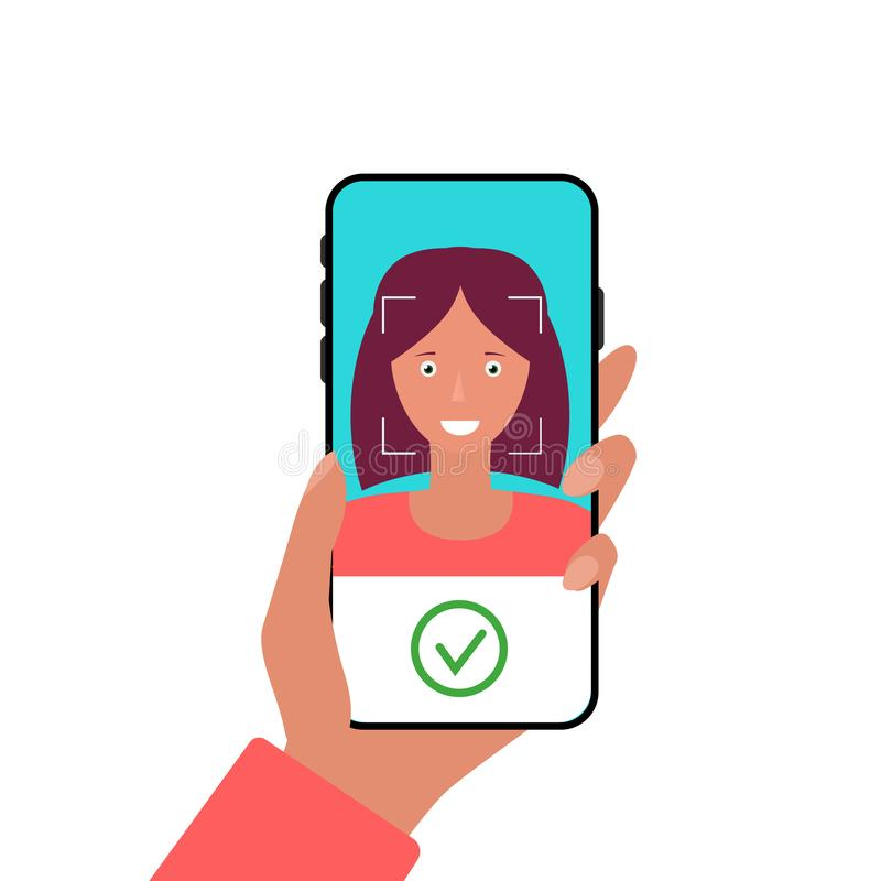 Του προσώπου τεχνολογία αναγνώρισης στο κινητό τηλέφωνο Χρησιμοποίηση του βιομετρικού προσδιορισμού Κινητό app για την αναγνώριση απεικόνιση αποθεμάτων
