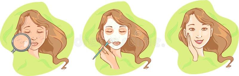 του προσώπου girl mask regeneration spa του προσώπου διανυσματικές νεολαίες μασκών απεικόνισης κοριτσιών απεικόνιση αποθεμάτων
