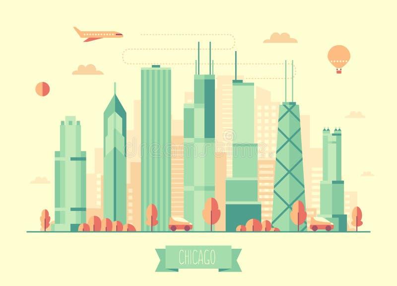 Του Σικάγου επίπεδο σχέδιο απεικόνισης οριζόντων διανυσματικό διανυσματική απεικόνιση