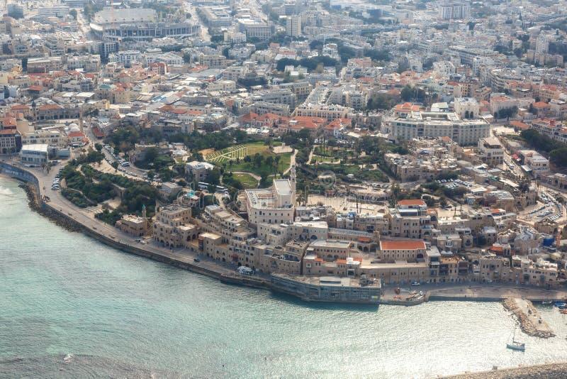 Του Τελ Αβίβ Jaffa παλαιά πόλεων κωμοπόλεων θάλασσα άποψης του Ισραήλ εναέρια στοκ εικόνα