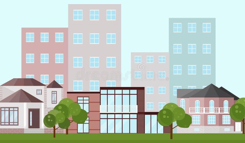 Του χωριού αρχιτεκτονική σπιτιών κτηρίων Σύγχρονες επίπεδες διανυσματικές απεικονίσεις ύφους απεικόνιση αποθεμάτων