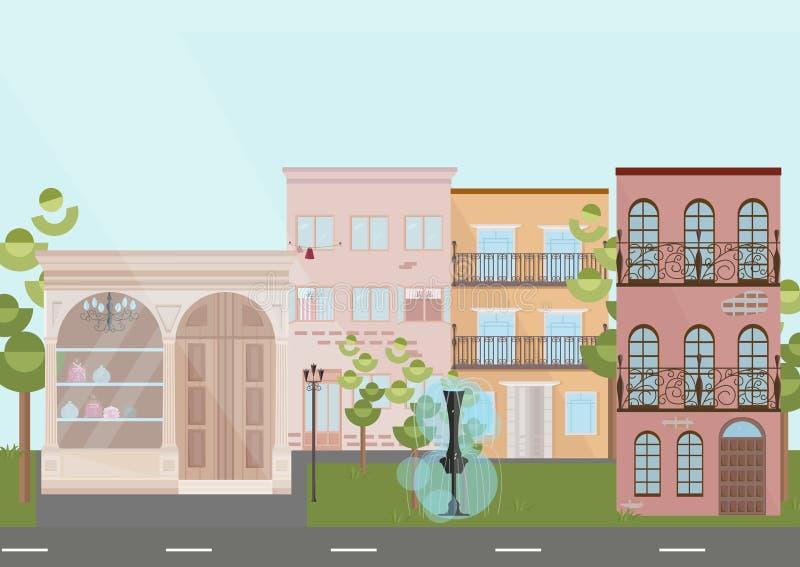 Του χωριού αρχιτεκτονική σπιτιών κτηρίων Σύγχρονες επίπεδες διανυσματικές απεικονίσεις ύφους διανυσματική απεικόνιση