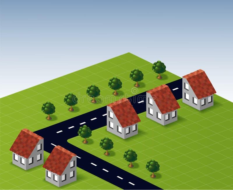 Του χωριού σπίτια στο διάνυσμα διανυσματική απεικόνιση