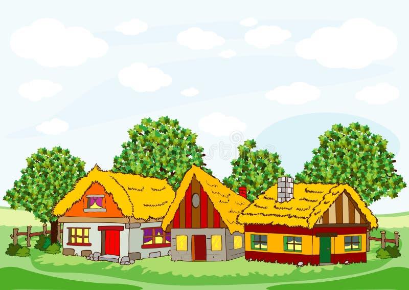Του χωριού σπίτια διανυσματική απεικόνιση