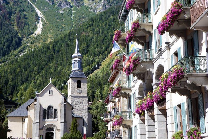 Του χωριού τετράγωνο της Mont Blanc Chamonix, Γαλλία στοκ εικόνες με δικαίωμα ελεύθερης χρήσης