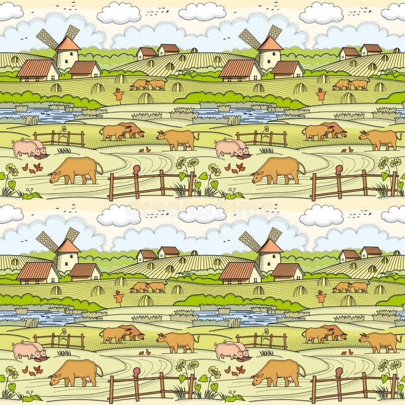 Του χωριού τοπίο Άνευ ραφής ανασκόπηση ελεύθερη απεικόνιση δικαιώματος