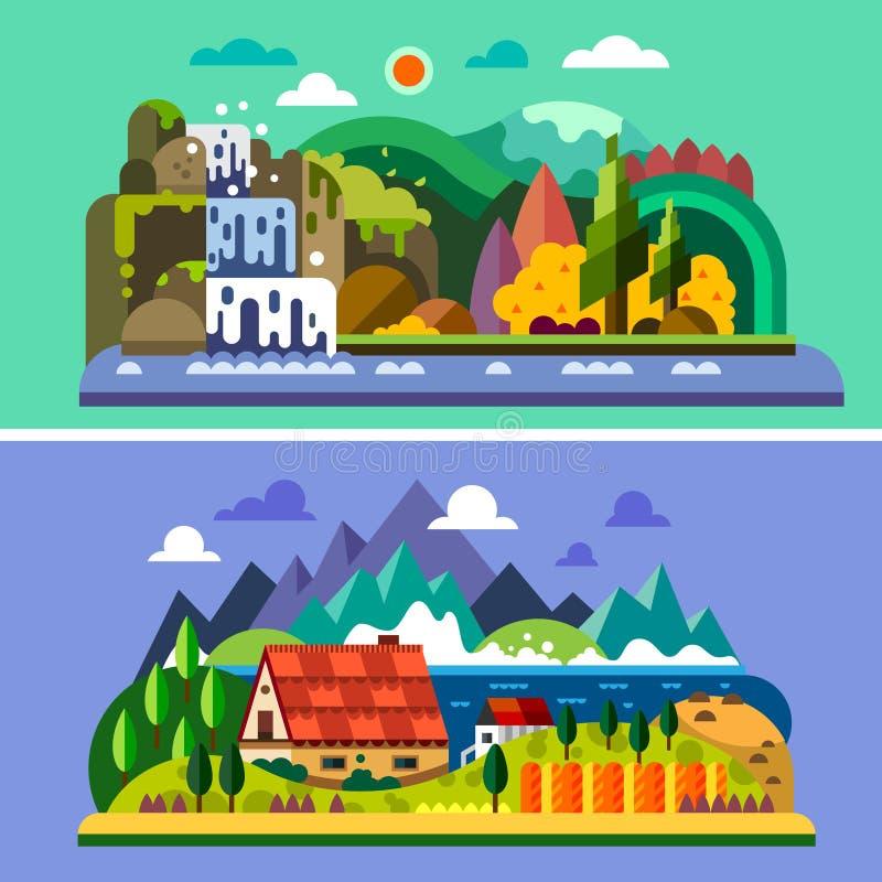 Του χωριού τοπίο ελεύθερη απεικόνιση δικαιώματος