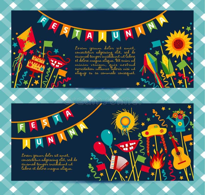 Του χωριού φεστιβάλ Junina Festa στη Λατινική Αμερική διανυσματική απεικόνιση
