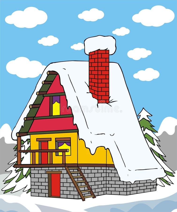 του χωριού χειμώνας σπιτ&iota απεικόνιση αποθεμάτων