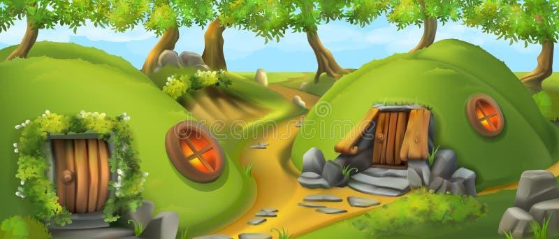 του χωριού watercolor ιστορίας απεικονίσεων νεράιδων Σπίτι Leprechaun Διανυσματική απεικόνιση τοπίων ελεύθερη απεικόνιση δικαιώματος