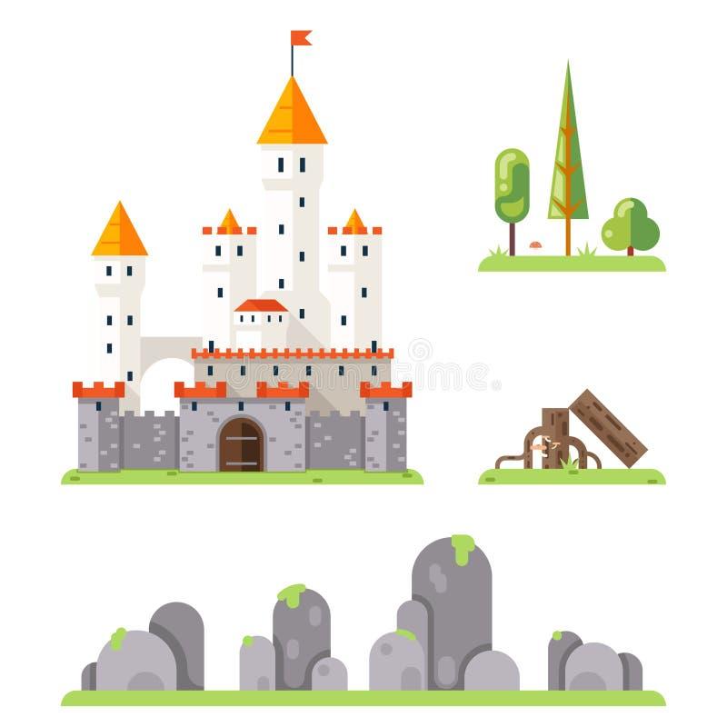 Του Castle παιχνιδιών οθόνης έννοιας τυχοδιωκτών RPG επίπεδη σχεδίου μαγική νεράιδων διανυσματική απεικόνιση προτύπων ουρών απομο διανυσματική απεικόνιση