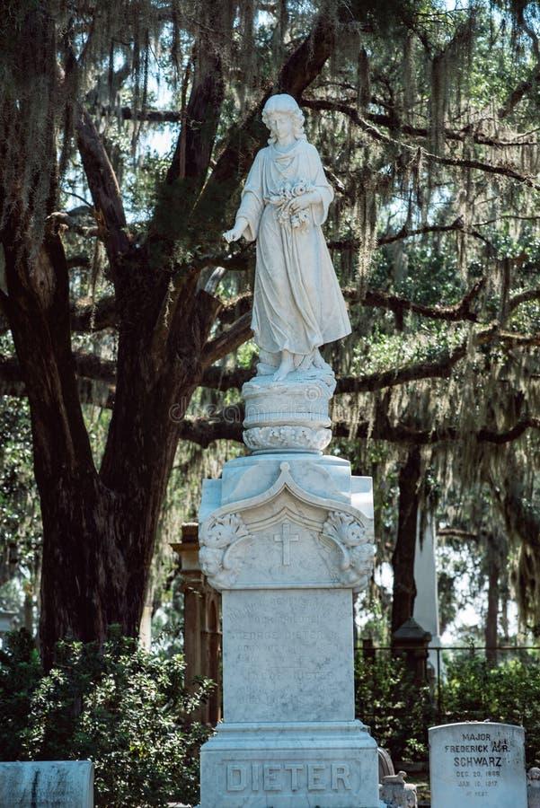 Του Dieter Cemetery σαβάνα Γεωργία Statuary Statue Bonaventure νεκροταφείων στοκ εικόνα