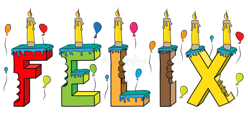Του Felix αρσενικό κέικ γενεθλίων ονόματος δαγκωμένο ζωηρόχρωμο τρισδιάστατο γράφοντας με τα κεριά και τα μπαλόνια διανυσματική απεικόνιση