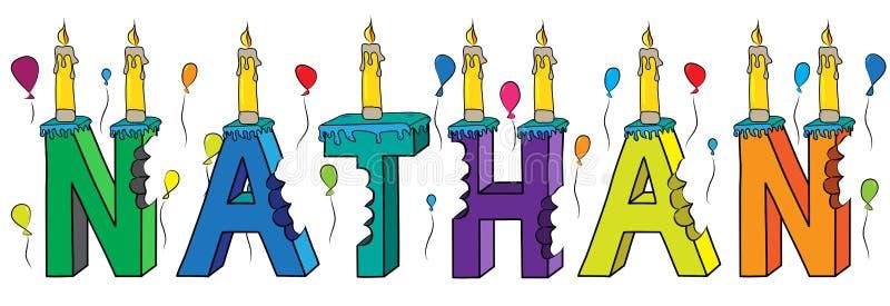 Του Nathan αρσενικό κέικ γενεθλίων ονόματος δαγκωμένο ζωηρόχρωμο τρισδιάστατο γράφοντας με τα κεριά και τα μπαλόνια ελεύθερη απεικόνιση δικαιώματος