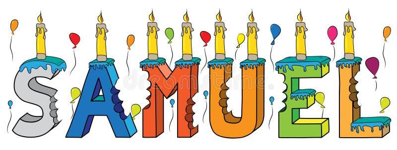 Του Samuel αρσενικό κέικ γενεθλίων ονόματος δαγκωμένο ζωηρόχρωμο τρισδιάστατο γράφοντας με τα κεριά και τα μπαλόνια απεικόνιση αποθεμάτων