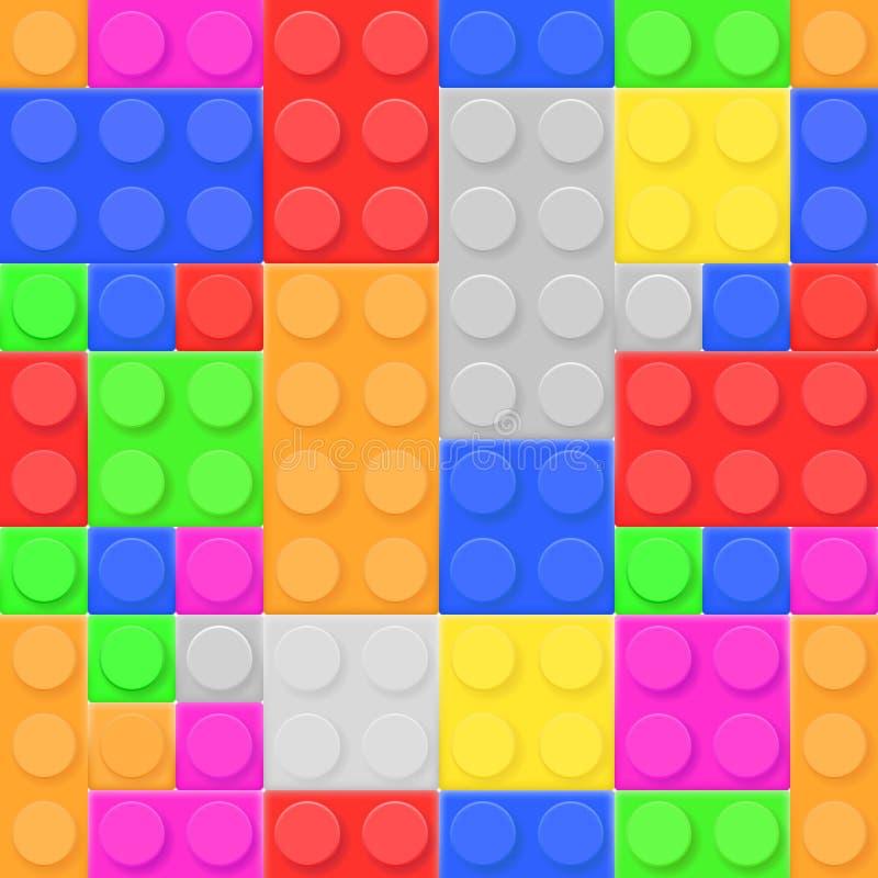 Τούβλα παιχνιδιών κατασκευής Χρωματισμένες δομικές μονάδες που τίθενται ως άνευ ραφής σχέδιο ελεύθερη απεικόνιση δικαιώματος