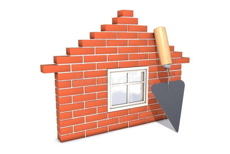 Τούβλινο σπίτι με το trowel που απομονώνεται στο άσπρο υπόβαθρο ελεύθερη απεικόνιση δικαιώματος