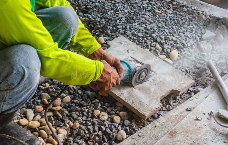 Τούβλα περικοπών εργατών οικοδομών στοκ εικόνες