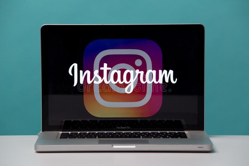 Τούλα, Ρωσία 17 06 2019 Instagram στην επίδειξη lap-top και τηλεφώνων στοκ εικόνες