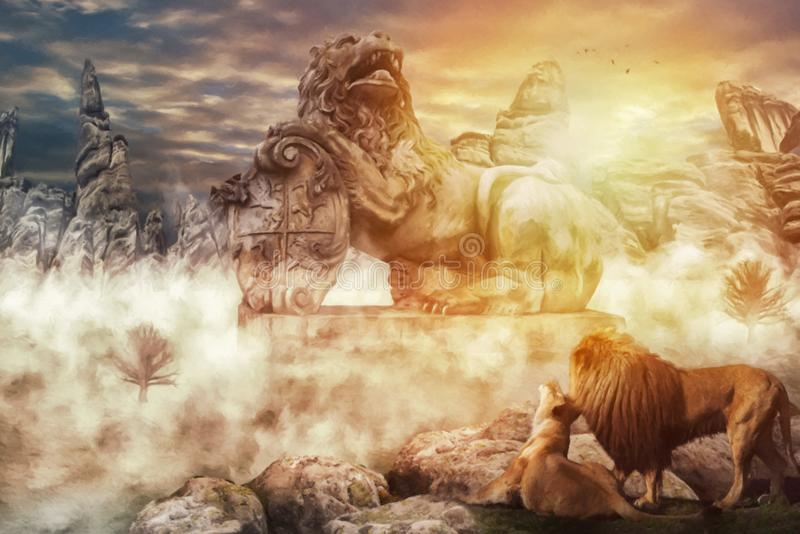 Το άγαλμα του βασιλιά λιονταριών απεικόνιση αποθεμάτων