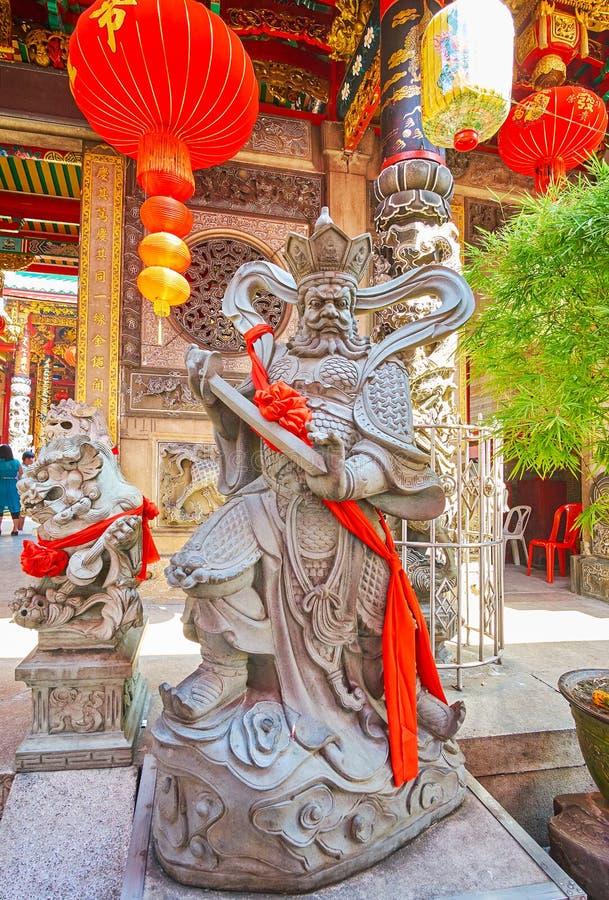 Το άγαλμα του βασιλιά Virudhaka στο ναό Qingfu, Yangon, το Μιανμάρ στοκ φωτογραφία με δικαίωμα ελεύθερης χρήσης