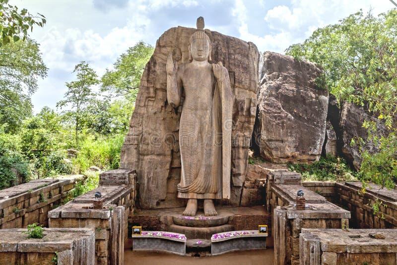 Το άγαλμα Avukana είναι ένα μόνιμο άγαλμα του Βούδα Σρι Λάνκα στοκ φωτογραφίες με δικαίωμα ελεύθερης χρήσης