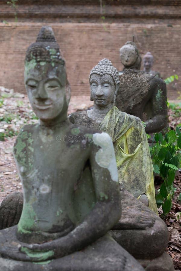 Το άγαλμα του Βούδα στο wat umong, chiang mai, ταξιδεύει τον ταϊλανδικό ναό στοκ εικόνα