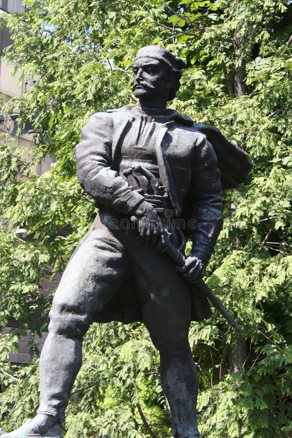 Το άγαλμα των αγγείων Carapic Vasilije σε Βελιγράδι, γνωστό ως δράκος από Avala ήταν σερβικός στρατιωτικός διοικητής που συμμετεί στοκ εικόνες
