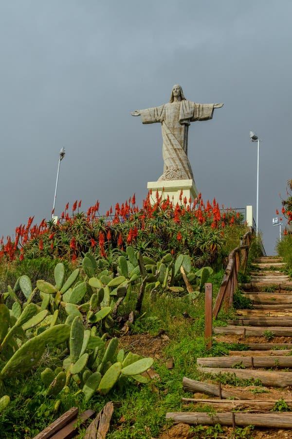 Το άγαλμα Χριστού ο βασιλιάς στο νησί της Μαδέρας στοκ εικόνα
