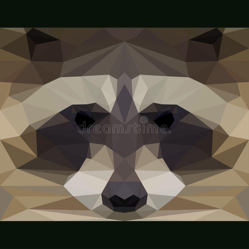 Το άγριο ρακούν κοιτάζει επίμονα προς τα εμπρός Αφηρημένη γεωμετρική polygonal απεικόνιση τριγώνων διανυσματική απεικόνιση