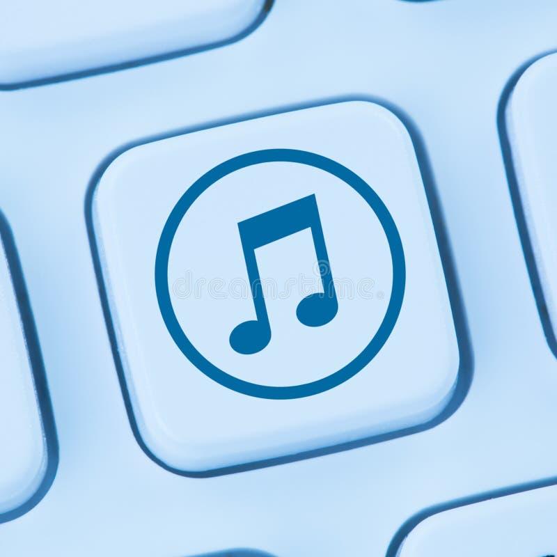 Το άκουσμα μεταφορτώνει τη μεταφόρτωση της μουσικής Διαδίκτυο σε απευθείας σύνδεση β ροής διανυσματική απεικόνιση