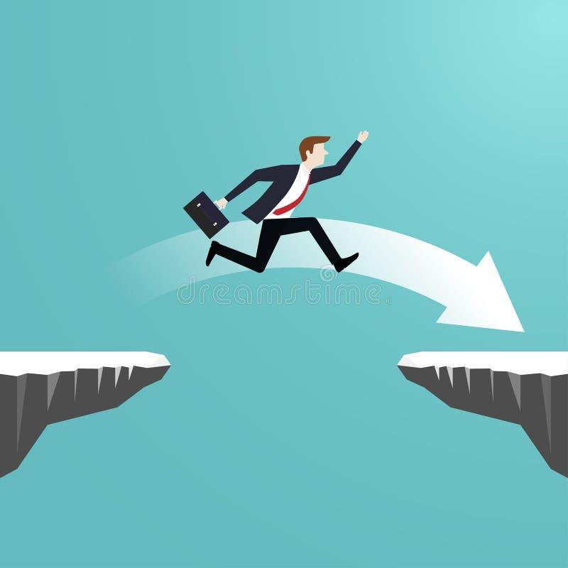 Το άλμα επιχειρηματιών πέρα από το χάσμα του απότομου βράχου πηγαίνει στην επιτυχία ελεύθερη απεικόνιση δικαιώματος