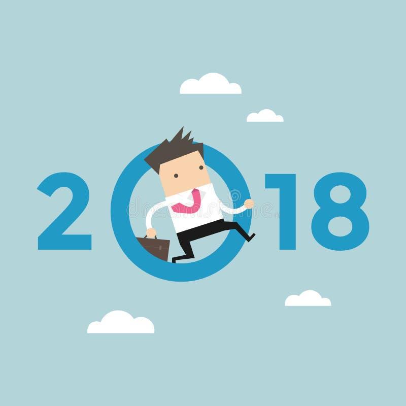 Το άλμα επιχειρηματιών ρίχνει μηδέν σε αριθμό το 2018 ελεύθερη απεικόνιση δικαιώματος