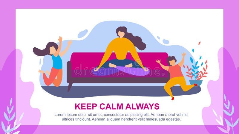 Το άλμα παιδιών Meditate γυναικών κρατά ήρεμος πάντα διανυσματική απεικόνιση