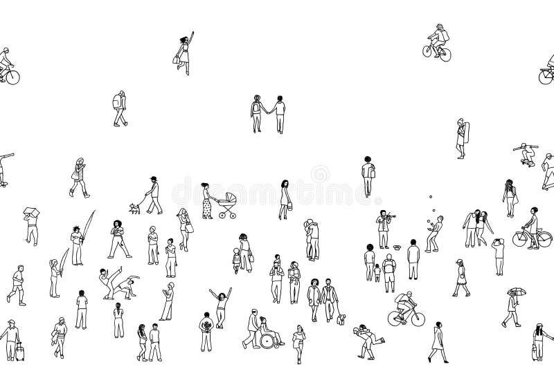 Το άνευ ραφής έμβλημα των μικροσκοπικών ανθρώπων, μπορεί να κεραμωθεί οριζόντια διανυσματική απεικόνιση