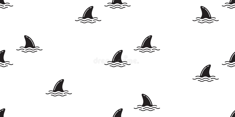 Το άνευ ραφής δελφίνι σχεδίων πτερυγίων καρχαριών απομόνωσε το ωκεάνιο υπόβαθρο ταπετσαριών παραλιών νησιών θάλασσας κυμάτων φαλα ελεύθερη απεικόνιση δικαιώματος