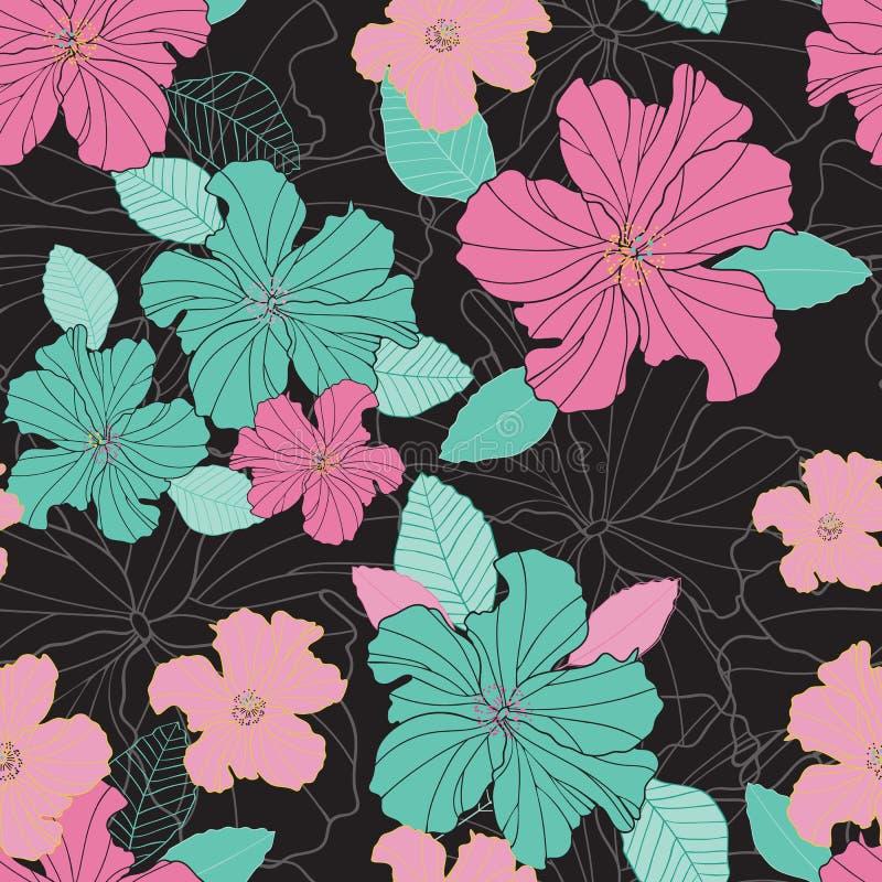 Το άνευ ραφής διάνυσμα επαναλαμβάνει τα ζωηρόχρωμα hibiscus λουλούδια και το σχέδιο φύλλων σε ένα μαύρο υπόβαθρο ελεύθερη απεικόνιση δικαιώματος