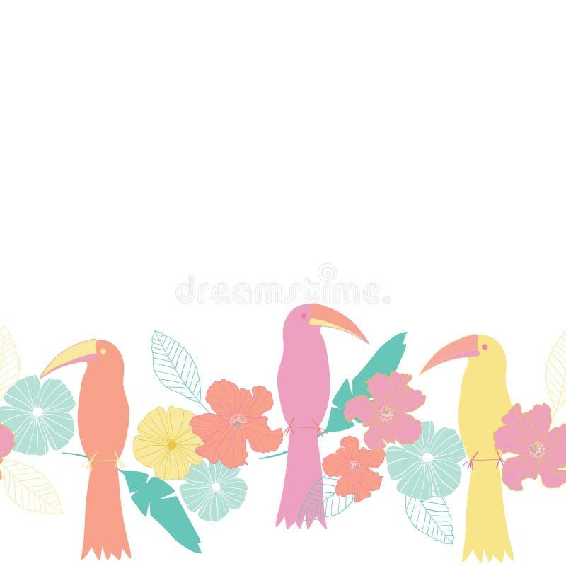 Το άνευ ραφής διάνυσμα επαναλαμβάνει τα οριζόντια σύνορα με τα τροπικά φυτά, τα φύλλα, τα πουλιά και τα λουλούδια με ένα άσπρο υπ απεικόνιση αποθεμάτων
