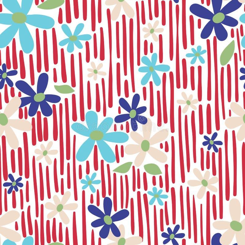 Το άνευ ραφής διάνυσμα επαναλαμβάνει τη floral τυπωμένη ύλη μαργαριτών με το αφηρημένο κόκκινο σχέδιο υποβάθρου λωρίδων ελεύθερη απεικόνιση δικαιώματος