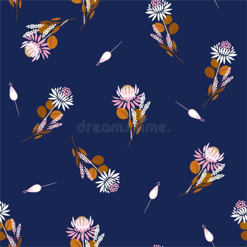 Το άνευ ραφής διάνυσμα λουλουδιών Protea σχεδίων απομόνωσε αφηρημένες floral και τις εγκαταστάσεις Διακοσμητικά στοιχεία σχεδίου  ελεύθερη απεικόνιση δικαιώματος