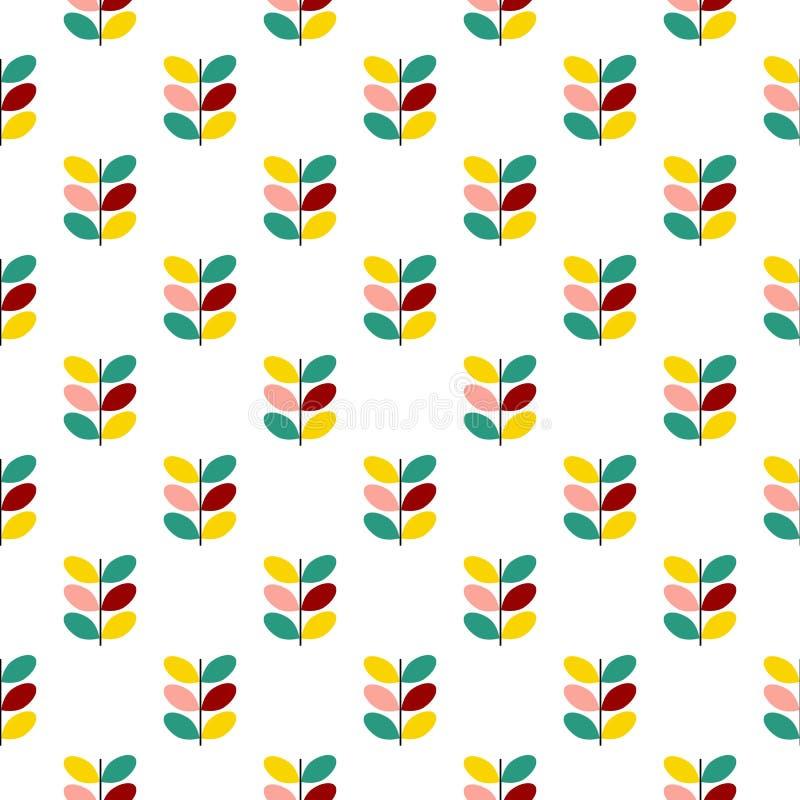 Το άνευ ραφής διανυσματικό βοτανικό σχέδιο των γραφικών κλαδίσκων με τα ζωηρόχρωμα φύλλα στην κρητιδογραφία χρωματίζει ρόδινο κίτ στοκ εικόνα