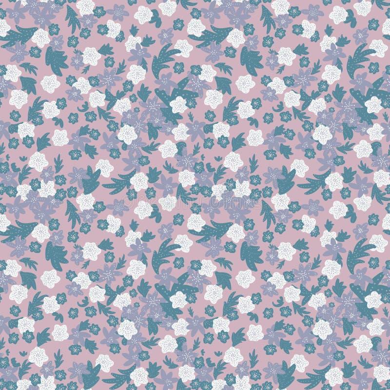 Το άνευ ραφής διανυσματικό υπόβαθρο σχεδίων με τα λουλούδια και τα φύλλα στην κρητιδογραφία οδοντώνουν το κιρκίρι και το γκρι διανυσματική απεικόνιση