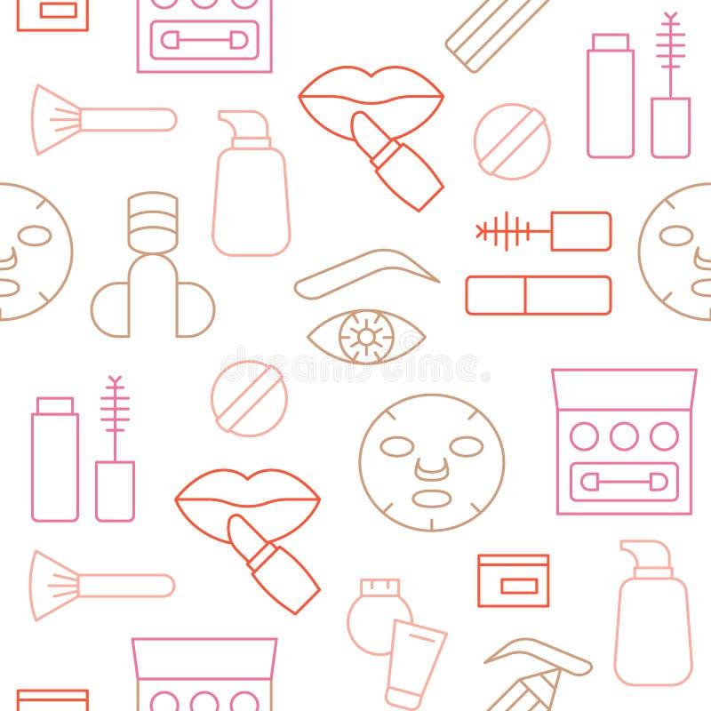 Το άνευ ραφής εικονίδιο περιλήψεων σχεδίων του καλλυντικού και αποτελεί έθεσε απεικόνιση αποθεμάτων