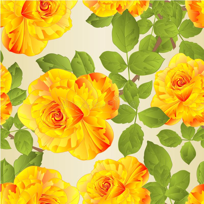 Το άνευ ραφής λουλούδι σύστασης κίτρινο αυξήθηκε μίσχος και αφήνει στο εκλεκτής ποιότητας φυσικό υπόβαθρο τη διανυσματική απεικόν διανυσματική απεικόνιση