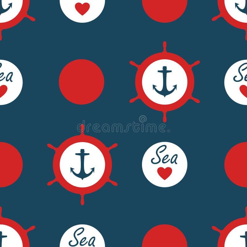 Το άνευ ραφής ναυτικό διάνυσμα σχεδίων με τις άγκυρες στέλνει την κόκκινη αγάπη σημείων και θάλασσας Πόλκα ροδών με το θαλάσσιο υ διανυσματική απεικόνιση